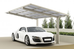 Carport CP 100 Standard mit geradliniger, moderner Dachform im Edelstahllook